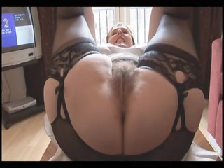 hirsute breasty aged lady in slide and girdle