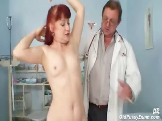 older olga has her redhead bushy cookie gyno