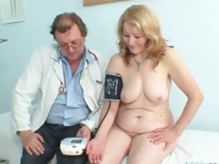 gyno doctor speculum examines very old aged wet