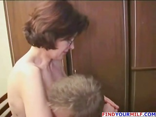 older brunette hair teacher seduces her student