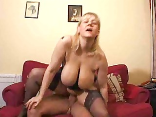 bulky mature in nylons drilled
