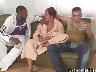 interracial three-some fuckfest with granny