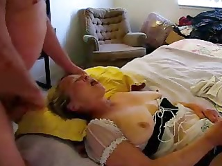 old bitch eating cum whilst she masturbates
