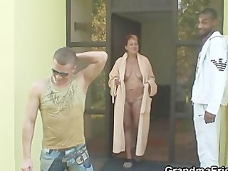 interracial trio fuckfest with granny