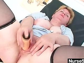 unpretty chubby older toys herself with gyno