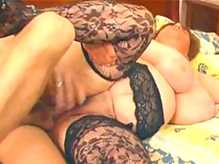 large breasty in lace nylons copulates bbw plump