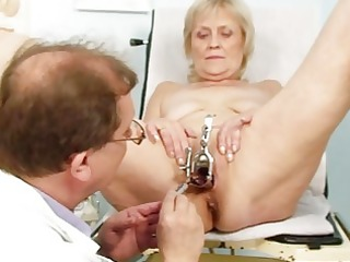 indecent golden-haired granny acquires her pussy