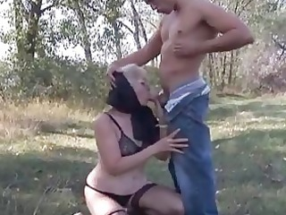 naughty golden-haired granny opens old pu...